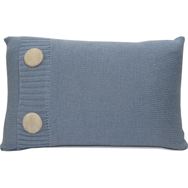 Knitted Wool Cushion - Duck Egg