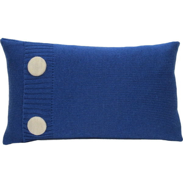 Knitted Wool Cushion - Cobalt Blue