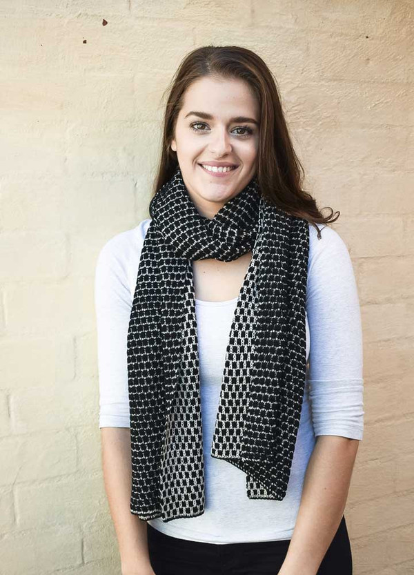 Black Patterned Merino Wool Scarf