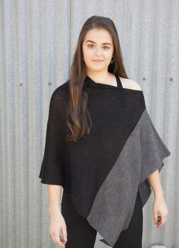 Merino Wool Poncho - Charcoal/Dark Grey