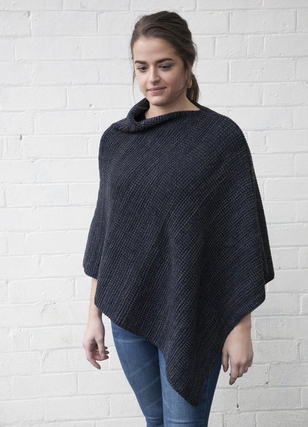 merino wool poncho - blue grey - chunky knit