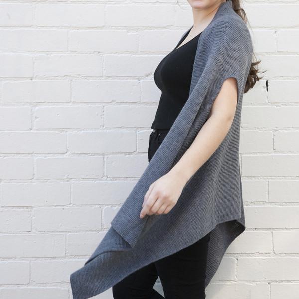 dark grey open vest