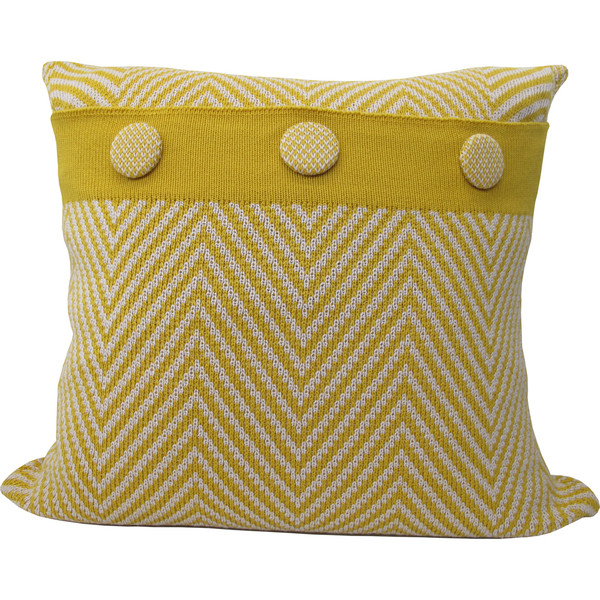 Knitted Wool Cushion - Mustard