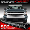 LED Light Bar Curved 288W 50 Inches Bracket Wiring Harness Kit for GMC Sierra Chevy Silverado Trucks 2007-2013
