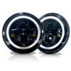 7 Inch HALO Chasing RGB Color Projector LED Headlights & Fog Lights Kit for Wrangler JK 2007-2017