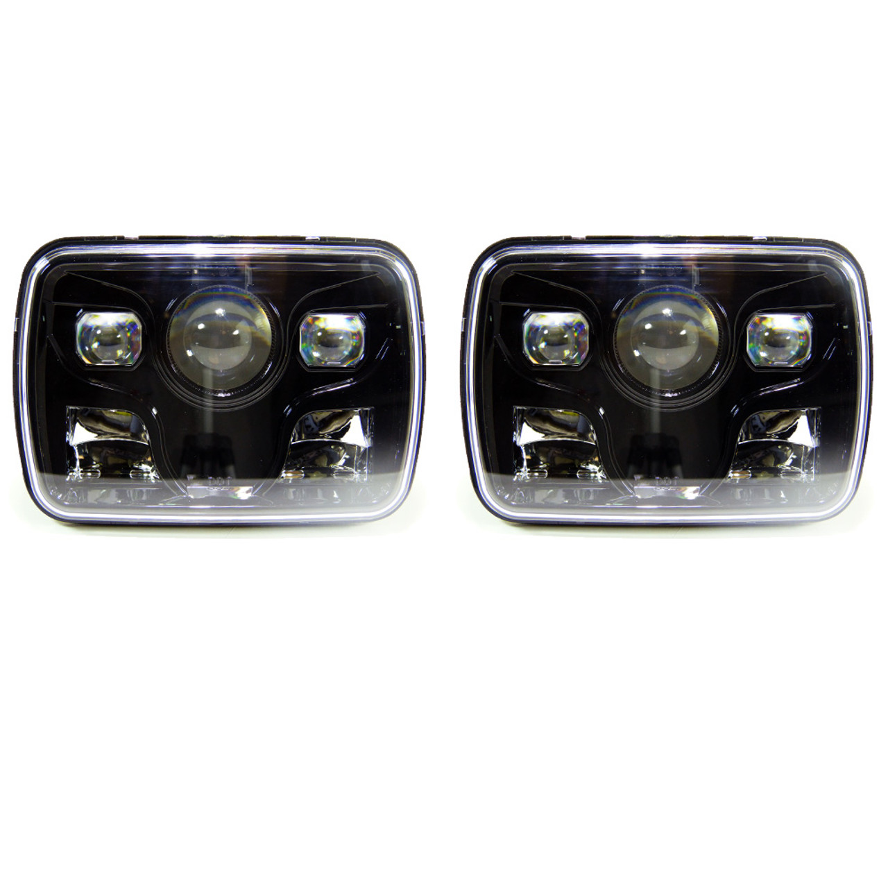 Auto parts headlights 7x6 inch square genssi genssi 76 h6054 200mm led projector headlights dot black set sciox Images