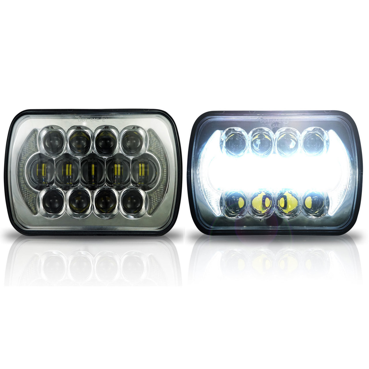 Auto parts headlights 7x6 inch square genssi 76 57 h6054 200mm led projector wdrl headlights sciox Images