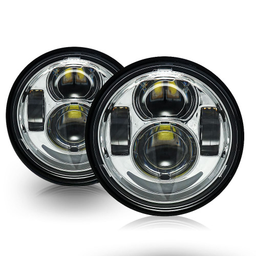 4.65 In LED Chrome Projector Headlight Harley Davidson Dyna Fat Bob FXDF 2008-2016 Black (2 Pack)