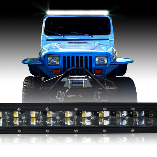 LED Light Bar 288W 50 Inches Bracket Wiring Harness Kit for Wrangler YJ 1987-1995