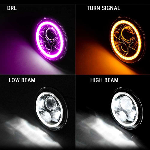 7 Inch HALO RGB Chasing Projector LED Headlights Set
