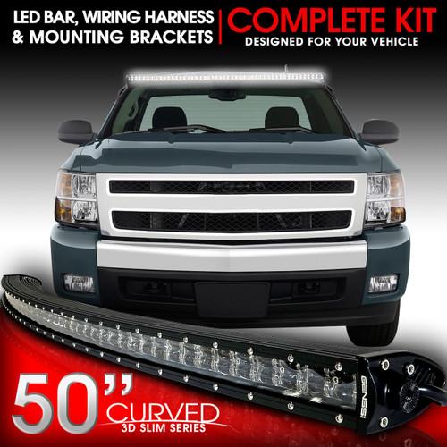 LED Light Bar Curved 288W 50 Inches Bracket Wiring Harness Kit for GMC Sierra Chevy Silverado Trucks 2007-2013