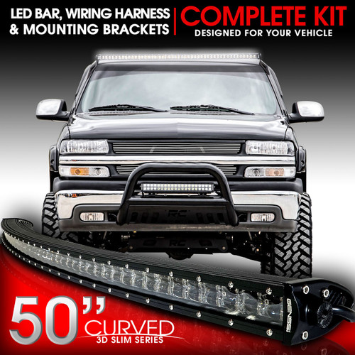 LED Light Bar Curved 288W 50 Inches Bracket Wiring Harness Kit for GMC Sierra Chevy Silverado Trucks 1999-2006