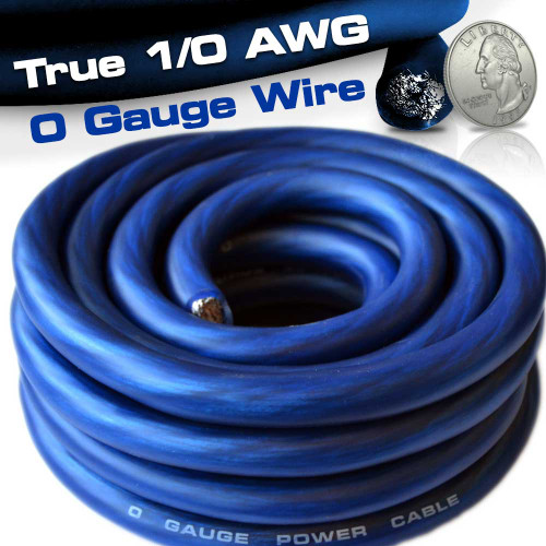 25ft 1/0 0 AWG Gauge Power Wire Cable Blue