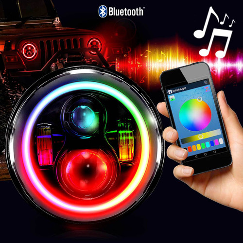 7 Inch HALO RGB Chasing Projector LED Motorcycle Headlight