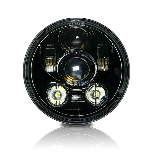 5.75 (5 3/4) In LED Black Projector Motorcycle Headlight Round DOT V2