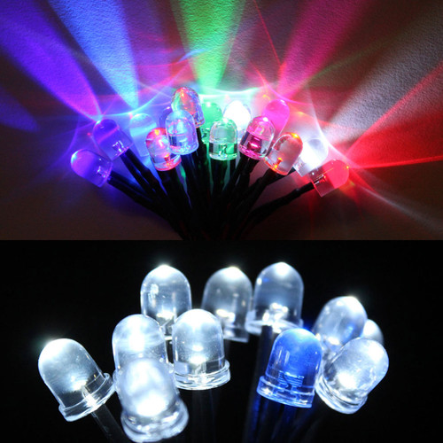8mm Round LED Lights with 55cm Wire 12V (10 Pack)