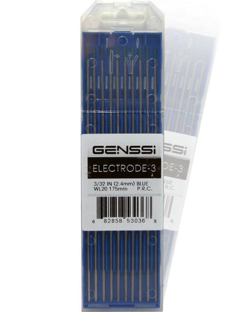 "2% Lanthanated Blue Tungsten TIG Electrodes 3/32 x 7"" 2.4mm 175mm WL20"