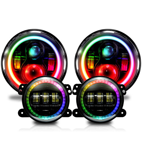 7 Inch HALO Chasing RGB Color Projector LED Headlights & Fog Lights Kit for Wrangler JK 2007-2017