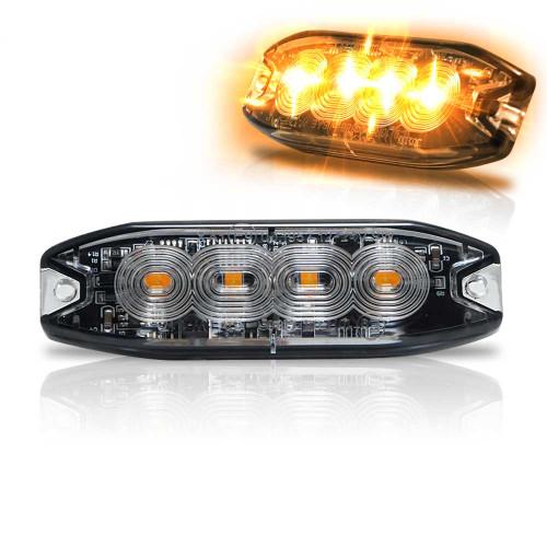 Surface Mount Pro Grade Amber LED Strobe Light 4 LED 12W