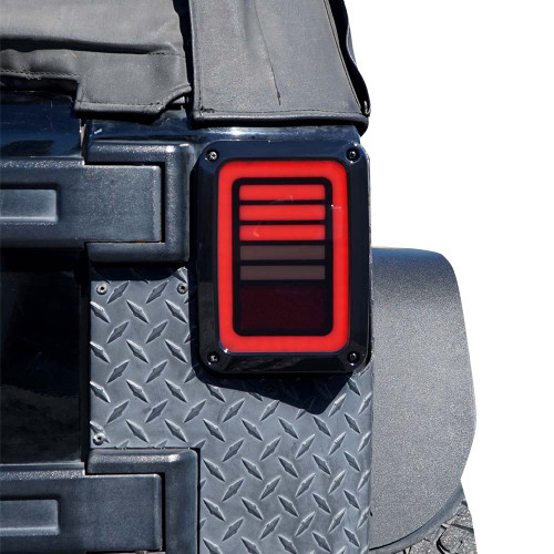 3D Smoked Halo LED Tail Lights for Wrangler JK 2007-2017