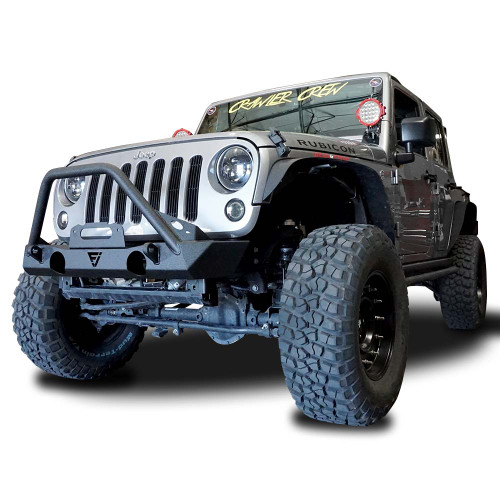 Front High Flat Bull Bar Bumper with OEM Fog Light Holes for Wrangler 2007-2018