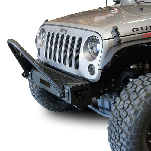 Front High Bull Bar Bumper w/Recessed Winch for Wrangler 2007-2018