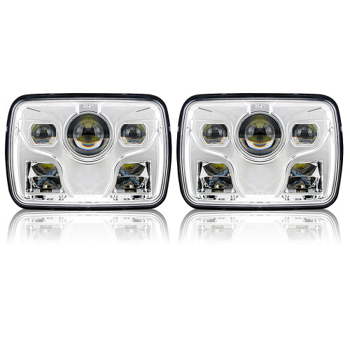 GENSSI 7×6 H6054 200mm LED Projector Headlights DOT Chrome Set