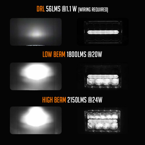 4x6 LED Reflector w/DRL Headlights Chrome Set
