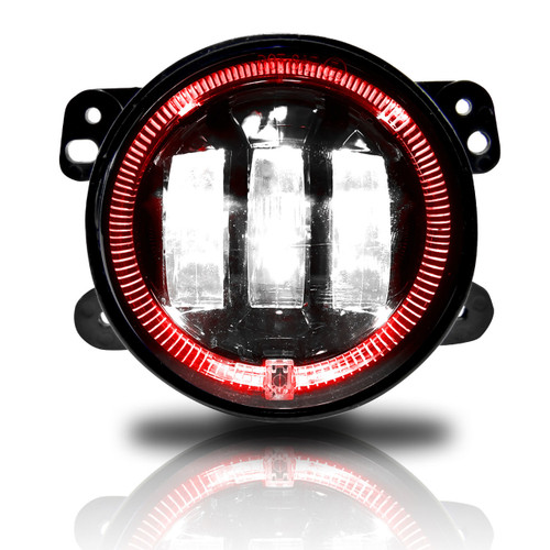 4 Inch LED Red Halo Fog Lamp Lights For Jeep Wrangler JK
