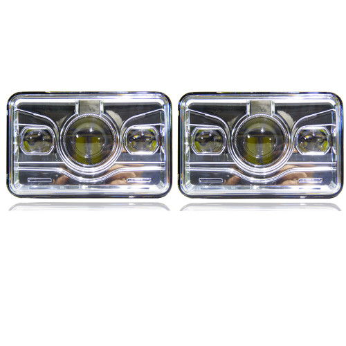 4x6 LED Projector Headlights H4651 H4652 H4656 H4666 H6545 Chrome Set