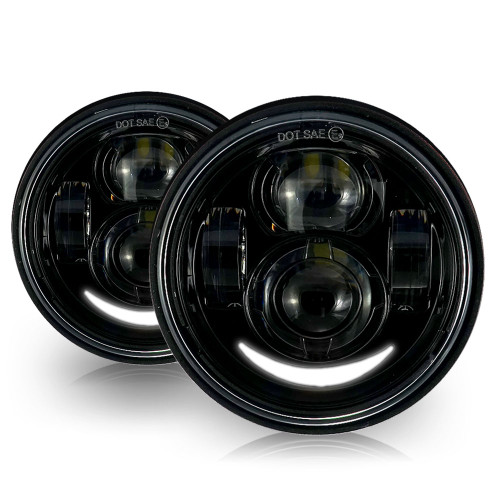 4.65 In LED Black Projector Headlight Harley Davidson Dyna Fat Bob FXDF 2008-2016 Black (2 Pack)
