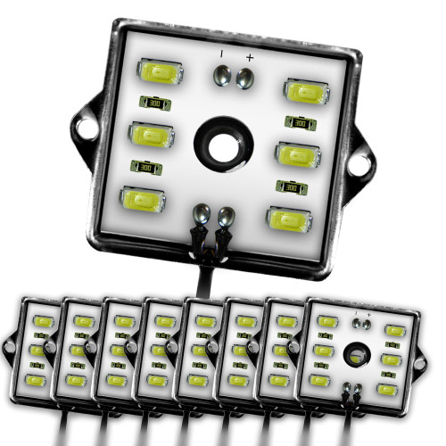 8 Module 48 LED White Exterior Truck Bed Rock Lights