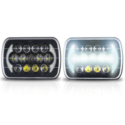7×6 (5×7) H6054 200mm LED Projector w/DRL Headlights Black Set