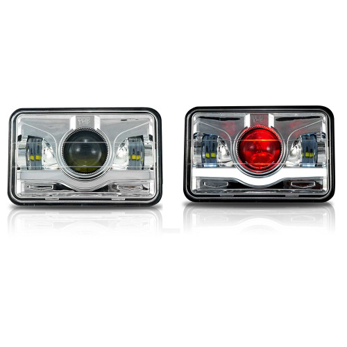 4x6 LED Projector Demon DRL Eyes Headlights Chrome Set