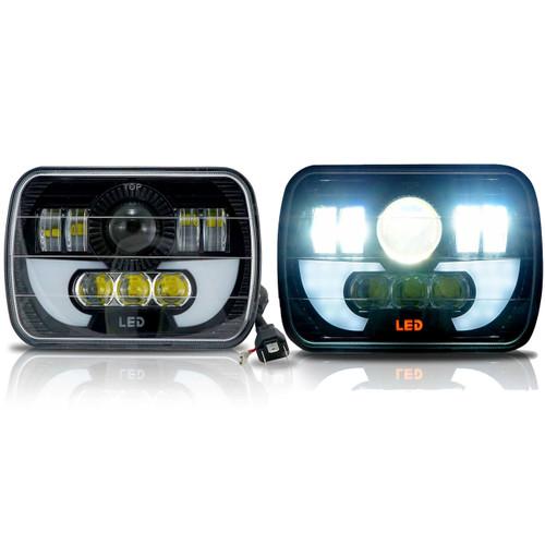 7x6 (5x7) H6054 200mm LED Projector w/ Demon DRL Headlights Black Set