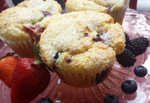 Gluten Free Blueberry-Strawberry Muffins