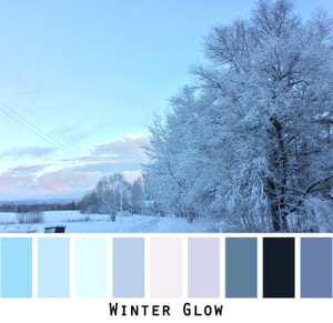 Winter Glow - pastel blue,indigo, navy blue,  aqua, lavender, cool grey, colors for blue eyes, blonde hair, grey hair photo by Inese Iris Liepina, Wrapture by Inese
