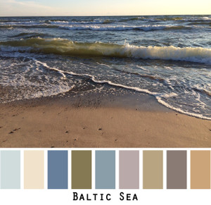 Baltic Sea - dusty blue grey teal with sand and sea, neutral colorful earthy shades colors for blue eyes, green eyes, brown eyes, blonde hair, brunette, redhead, black hair, gray hair - photo by Inese Iris Liepina, Wrapture by Inese