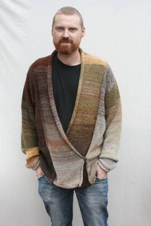 Woodland Symphony double breasted cardigan sweater size XL Wrapture by Inese Iris Liepina, brown, chocolate, tobacco, tan, gold, olive, sage green, local Baltic wool, kid mohair, silk, cotton, prewashed in machine on wool cycle, knitted unique one of a kind