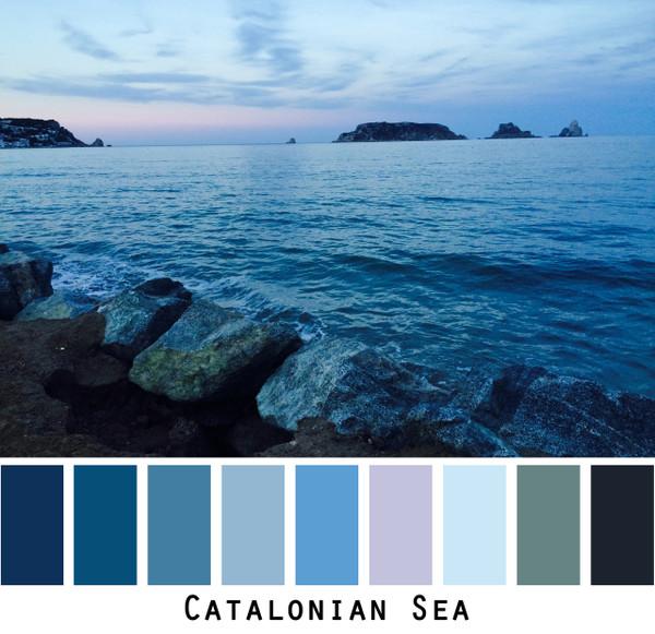 Catalonian Sea - teal blue rocky coast pink blue sky, colors for blue violet eyes, green eyes, brown eyes, blonde hair, redhead, black hair, grey hair, brunette, photo by Inese Iris Liepina, Wrapture by Inese