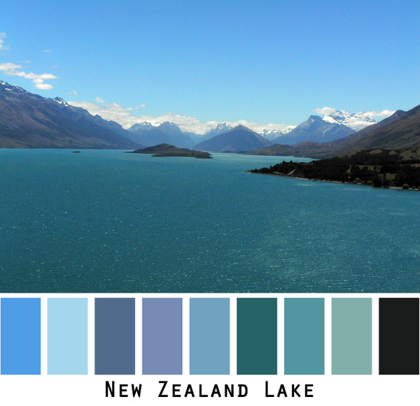 New Zealand Lake - teal blue water, violet blue snowcapped mountains, sky blue, colors for blue eyes blonde redhead black hair, photo by Inese Iris Liepina, Wrapture by Inese