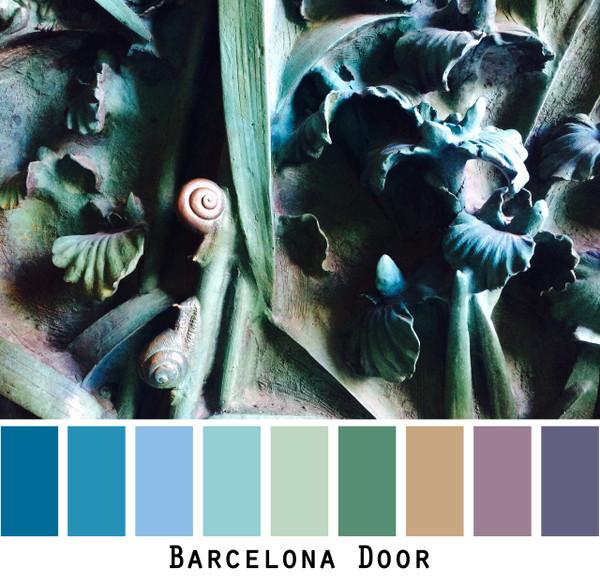 Barcelona Door - teal blue verdigris door in Gaudis Basilica de la Sagrada Familia, colors for blue eyes, green eyes, brown eyes,  brunette, redhead, black hair  - photo by Inese Iris Liepina, Wrapture by Inese