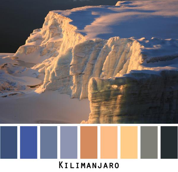 Kilimanjaro - sunrise on snowfields blue gold black grey, colors for blue eyes,  brown eyes, brunette, black hair - photo by Inese Iris Liepina, Wrapture by Inese