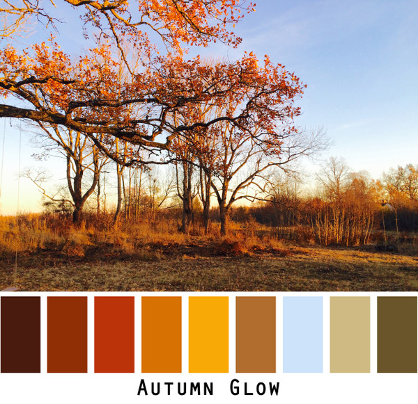 Autumn Glow - red orange brown gold sage green on a pale blue sky colors for blue eyes, green eyes, brown eyes,  brunette, redhead, black hair - photo by Inese Iris Liepina, Wrapture by Inese