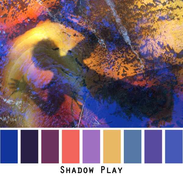 Shadow Play - blue violet purple gold indigo ink colors for green eyes, brown eyes, brunette, redhead, black hair - photo by Inese Iris Liepina, Wrapture by Inese