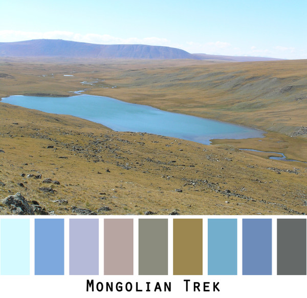 Mongolian Trek - blue sky bright aqua lavender sage green moss green steppe landscape colors for blue eyes, green eyes, brown eyes, blonde hair, brunette, redhead, black hair, gray hair - photo by Inese Iris Liepina, Wrapture by Inese