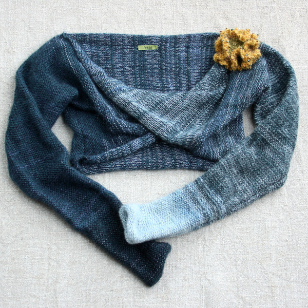 blue jean bolero shrug Wrapture by Inese Iris Liepina, indigo pale blue dark blue gold with detachable crochet flower pin kid mohair silk cotton knitted unique one of a kind