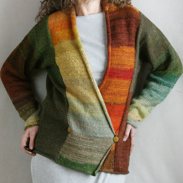 Autumn Symphony double breasted cardigan sweater size L Wrapture by Inese Iris Liepina, forest green teal brown orange pumpkin olive lichen sage gold rust autumn fall colors, local Baltic wool, kid mohair, silk, cotton, prewashed in machine on wool cycle, knitted unique one of a kind
