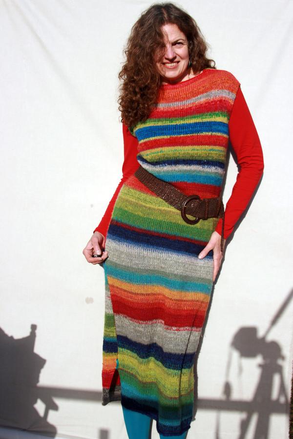 Ankle length knit random striped tank dress custom order Wrapture by Inese iris Liepina