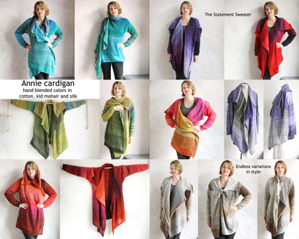 Annie cardigan Coat custom order, one of a kind style catalog Wrapture by Inese Iris Liepina